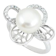 925 sterling silver natural white pearl topaz ring jewelry size 5.5 c25027
