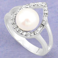925 sterling silver natural white pearl topaz ring jewelry size 7.5 c25037