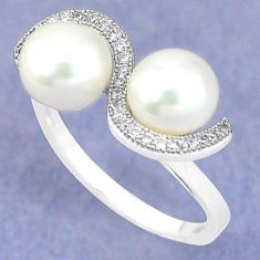 925 sterling silver natural white pearl topaz ring jewelry size 8.5 c25104