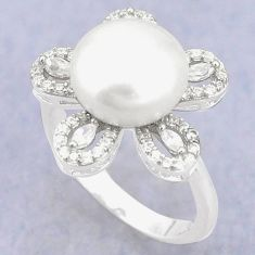 925 sterling silver natural white pearl topaz ring jewelry size 8.5 c25125