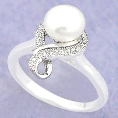 925 sterling silver natural white pearl topaz ring jewelry size 5.5 c25132