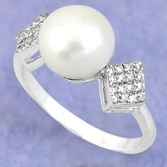 925 sterling silver natural white pearl topaz ring jewelry size 7.5 c25147