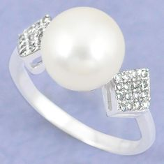 925 sterling silver natural white pearl topaz ring jewelry size 6.5 c25155