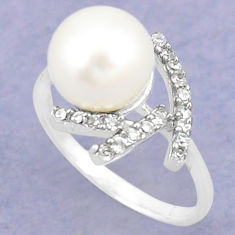 925 sterling silver natural white pearl topaz ring jewelry size 8.5 c25164
