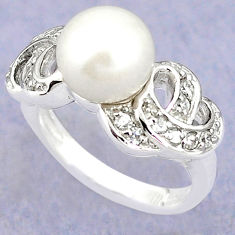 925 sterling silver natural white pearl topaz ring jewelry size 7.5 c25234