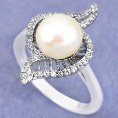 925 sterling silver natural white pearl topaz ring jewelry size 6.5 c25242