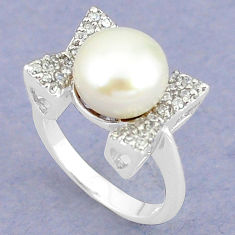 925 sterling silver natural white pearl topaz ring jewelry size 8.5 c25270