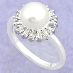 925 sterling silver natural white pearl topaz ring jewelry size 5.5 c25299