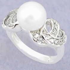 925 sterling silver natural white pearl topaz ring jewelry size 7.5 c25316