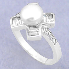 925 sterling silver natural white pearl topaz ring jewelry size 8.5 c25317