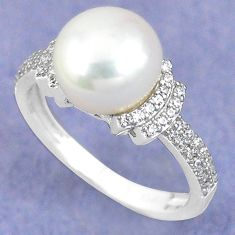 925 sterling silver natural white pearl topaz ring jewelry size 6.5 c25380