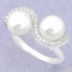 925 sterling silver natural white pearl topaz ring jewelry size 6 c25098