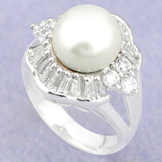 925 sterling silver natural white pearl topaz ring jewelry size 6 c25233