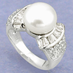 925 sterling silver natural white pearl topaz ring jewelry size 6 c25271
