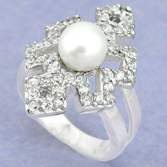 925 sterling silver natural white pearl topaz ring jewelry size 6 c25277