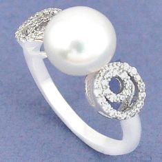 925 sterling silver natural white pearl topaz ring jewelry size 6 c25364