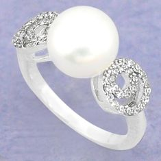925 sterling silver natural white pearl topaz ring jewelry size 6 c25370