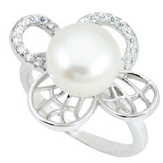 925 sterling silver natural white pearl topaz ring jewelry size 7 c25022