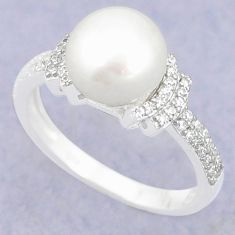 925 sterling silver natural white pearl topaz ring jewelry size 7 c25039