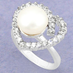 925 sterling silver natural white pearl topaz ring jewelry size 7 c25065