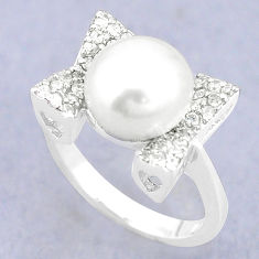925 sterling silver natural white pearl topaz ring jewelry size 7 c25320
