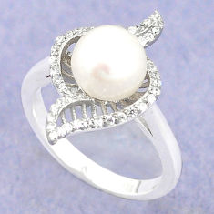 925 sterling silver natural white pearl topaz ring jewelry size 7 c25379