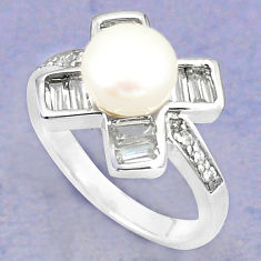 925 sterling silver natural white pearl topaz ring jewelry size 7 c25396
