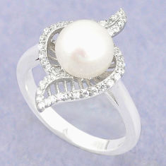 925 sterling silver natural white pearl topaz ring jewelry size 8 c25093