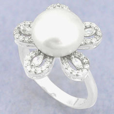 925 sterling silver natural white pearl topaz ring jewelry size 8 c25121
