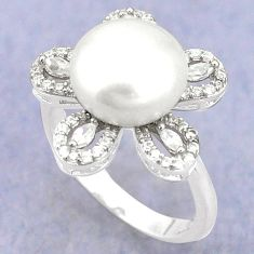 925 sterling silver natural white pearl topaz ring jewelry size 8 c25127