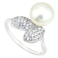 925 sterling silver natural white pearl topaz ring jewelry size 8 c25200
