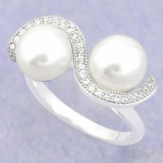 925 sterling silver natural white pearl topaz ring jewelry size 8 c25424