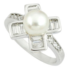 925 sterling silver natural white pearl topaz ring jewelry size 9 c25385