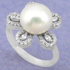 925 sterling silver natural white pearl topaz round ring size 6.5 c22303