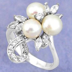 925 sterling silver natural white pearl topaz round ring jewelry size 6.5 c25267