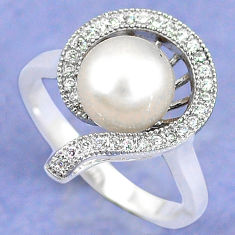 925 sterling silver natural white pearl topaz round ring jewelry size 7.5 c25361
