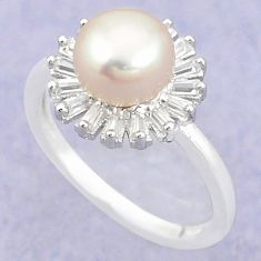 925 sterling silver natural white pearl topaz round ring jewelry size 6 c25057