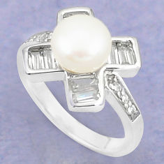 925 sterling silver natural white pearl topaz round ring jewelry size 6 c25142