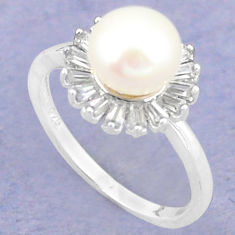 925 sterling silver natural white pearl topaz round ring jewelry size 6 c25186