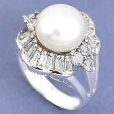925 sterling silver natural white pearl topaz round ring jewelry size 6 c25229