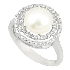 925 sterling silver natural white pearl topaz round ring jewelry size 6 c25388