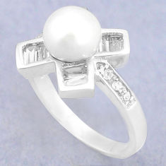 925 sterling silver natural white pearl topaz round ring jewelry size 8 c25161