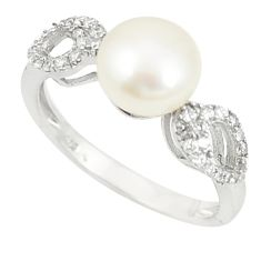 925 sterling silver natural white pearl topaz round ring jewelry size 8 c25374