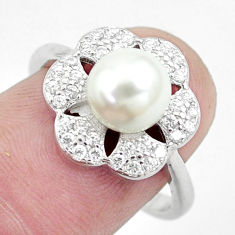 925 sterling silver 4.69cts natural white pearl topaz round ring size 7 c25054
