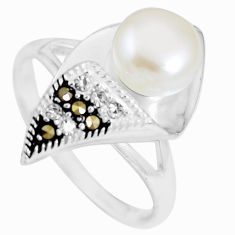 925 sterling silver 3.42cts natural white pearl topaz round ring size 9 c25430
