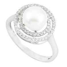 925 sterling silver 3.91cts natural white pearl white topaz ring size 7.5 c25115