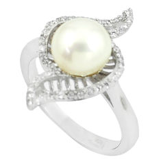 925 sterling silver 4.47cts natural white pearl white topaz ring size 7 c25365