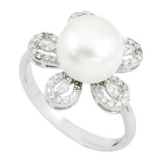 925 sterling silver 6.32cts natural white pearl white topaz ring size 8 c25310