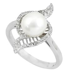 925 sterling silver 5.23cts natural white pearl white topaz ring size 9 c25178