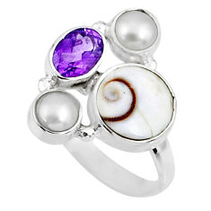 925 sterling silver 6.54cts natural white shiva eye amethyst ring size 7 r57575